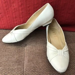 Shelby Cream leather flats.